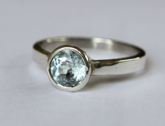 Hand Wrought .99ct Powder Blue Aquamarine And Argentium Sterling Silver Ring SZ 6.5