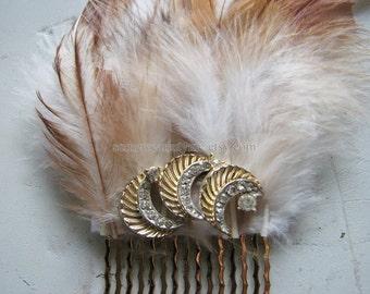 Rhinestone hair comb   moon headpiece   vintage   gold hair piece