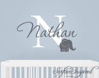 Name Monogram Wall Decal - monogram wall decal with adorable elephant and personalized name.