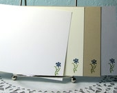 Stationery Set Handmade Flat Cards Choice of Flower Color and Card Color for Writing Letters