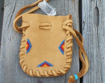 Amulet Pouch , Beaded amulet bag , Leather Amulet pouch