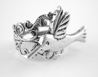 Hummingbird Ring - Silver Bird Ring - Silver Lace Ring - Humming Bird Jewelry - Hummingbird Gift
