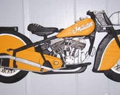 Handmade custom painted wooden Indian motorcycle wall plaque