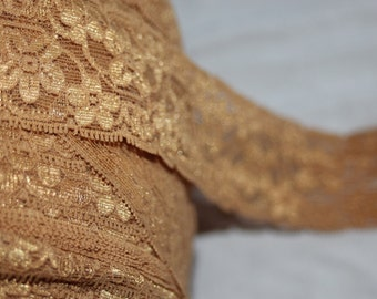 "4 yards Gold Tan headband sewing stretch lace 1.75"" wide"