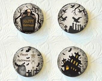 Halloween Magnet Set of 4 Haunted House Blackbirds Tombstones Buy 3 Get 1 Free 018-H