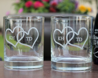 Set of Two Engraved Double heart with initials Rock glasses, Engraved rock glasses, personalized rock glasses