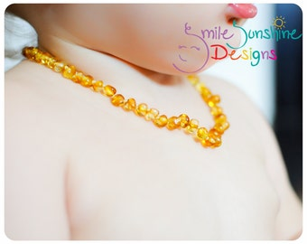 Polished Amber Teething Necklace -Amber Teething-Child's Amber Necklace - Genuine Baltic Amber - Baby Necklace - Shower Gift