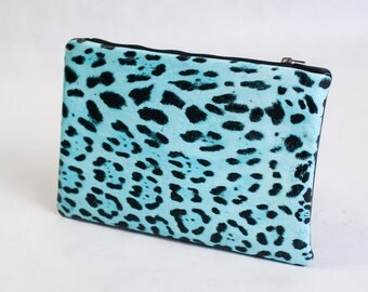 Blue leopard leather clutch purse