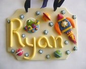 Kids Clay Door Sign Personalized Door Hanger Spaceship Stars Planets Aliens Room Decor Gift Ideas Custom Name Sign Made to Order