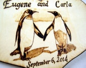 Penguin Wedding Cake Topper -Engagement, Wooden Anniversary, Unique Wedding Gift -Personalizable