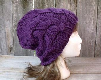 Women's Chunky Cable Knit Hat in Orchid Purple, Slouchy Beanie, Cable Knit Hat, Bright Purple, Medium Purple, Chunky Hat, Winter Hat