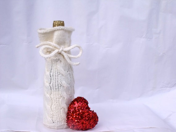 Wine Bottle Cozy Knitting Pattern : Cable Knit Wine Bottle Bag Bottle Cozy PDF Knitting Pattern
