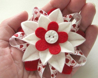 Valentine Hearts Red and White Felt Flower Pin with Vintage Button and Hearts Ribbon - Handmade