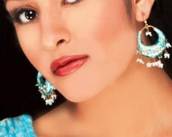 TURQUOISE EARRINGS,Lac Earrings,Chand Bali,Jaipur Jhumkas,Lac Earrings,Indian Jewelry by Taneesi
