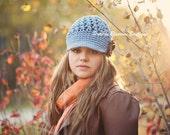 Blue Womens Hat, Crochet Newsboy Hat, Crochet Hat with Brim, Crochet Teen Hat, Cotton Hat
