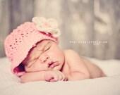 Pink Cotton Newborn Newsboy Hat for Baby Girl - Crochet Baby Hat with Flower, Newborn Girl Hat, READY TO SHIP, Newborn Size