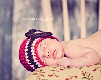 Cotton Newborn Beanie in Red - Crochet Baby Hat, Newborn Hat, Infant Girl Hat, Newborn Size