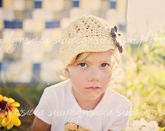 Yellow Newsboy Hat with Brown Flower, Crochet Hat, Newborn to Adult