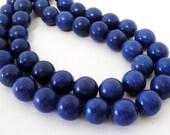 "Blue Round Beads - Cobalt Blue Turquoise Gemstone - Drilled Howlite Beads - Smooth Round Ball - 12mm - 16"" Strand - Diy Craft Beads Jewelry"