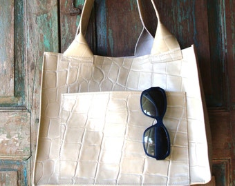 Handmade  Winter White  Italian Leather Structured Tote, Bag or Purse, Custom Color Available
