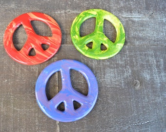 Set of 3 Swirly Rainbow Peace Sign Tie Dye Ceramic Ornaments - Large