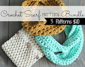 DIGITAL FILE 3 Scarf Pattern Bundle: Infinity, Cowl, & Puff Stitch Cowl