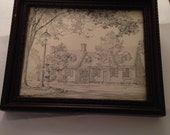 Black and White Colonial Home Willamsburg Print Framed