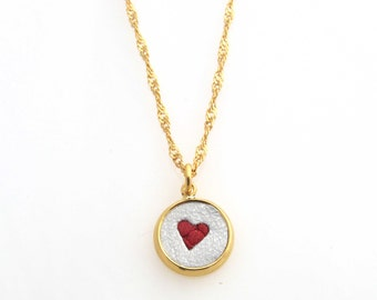 Valentines Day heart pendant  24k gold-plated Necklace - free shipping- bridesmaid gift- bridal necklace-gift for her