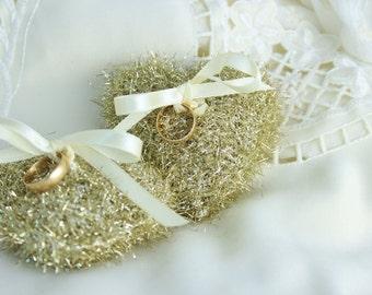 Crochet Golden Heart Pillows, Crochet Wedding Ring Bearer, Heart Pillow Wedding Decor, Crochet Heart Home Decor, Golden Hearts Ornament