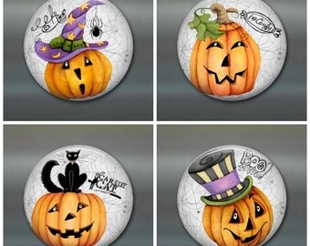 halloween decor, halloween fridge magnets, pumpkin decorations, set of 4 magnets, kitchen decor, large fridge magnet set