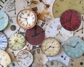 Vintage Clock Faces Large Lot of 24 Reproduced Card Stock Clock Faces, Assemblage, Destash, Supplies, Altered Art