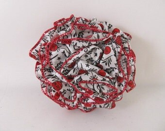 Ribbon Rose Pin-Hair Clip-Brooch-Red-Christmas-Joy-Red and White