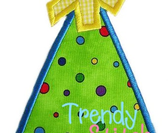 Birthday Party Hat 1 Applique Machine Embroidery Design DIGITAL DOWNLOAD