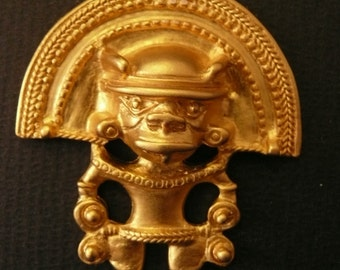 Aztec jewelry Pendant alloy casting 24 K Gold plated