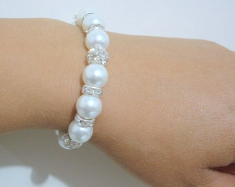 Pearl Bridal Bracelet, Bridal Jewelry, Pearl Bridesmaid Bracelet, Rhinestone Pearl Bracelet, Wedding Bracelet