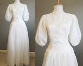 Vintage Wedding Dress White Puff Sleeves Chiffon Princess Gown Small