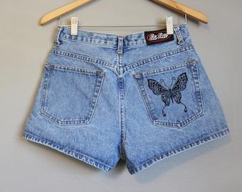 High Waisted Jean Shorts Vintage Denim Butterfly Medium