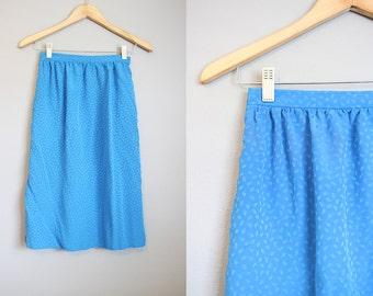 Pencil Skirt Vintage Silk Royal Blue Secretary Small