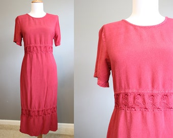 Festival Dress Vintage Maroon Grunge Bohemian 90s Medium