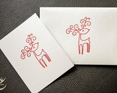 Red Reindeer Embossing Shimmering White Note Card and Matching Envelope Holiday Card, designbybehin