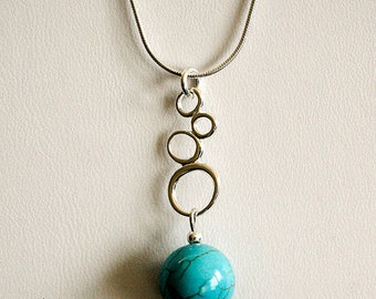 Turquoise Pendant with Sterling Silver Chain Necklace, Modern Style Turquoise Necklace, Sterling Silver Pendant, Turquoise jewelry