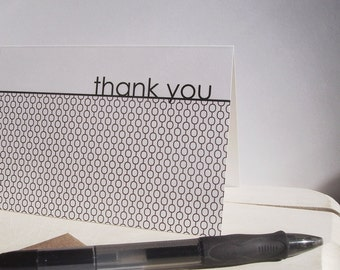 Mod Thank You Cards - Dark Charcoal Thank You Notes, Smoky Grey Charcoal White Circle Links, Modern Contemporary Bridal Thank You Card Set