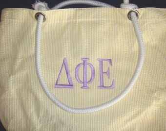 Delta Phi Epsilon Seersucker Sorority Beach Tote Bag