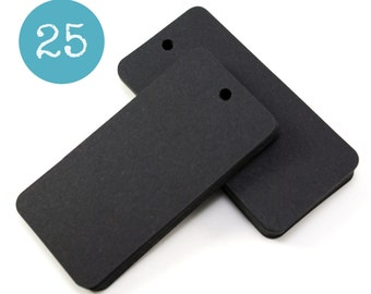 25 BLACK blank hang tags - rectangle gift tags or parcel tags with rounded corners 3 x 1 1/2 inch - gift wrapping, stamping