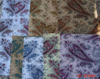 Nine Cotton Fabric Pieces in Paisley Designs for Crafting / Quilting