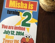Elmo themed birthday invitation - set of 12