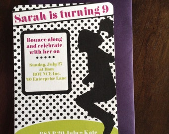 Trampoline party invitations - set of 12