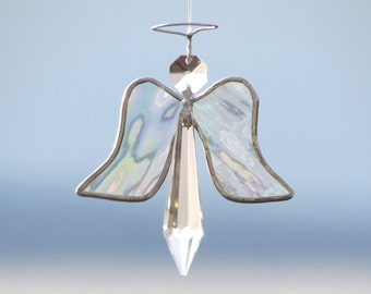 Angel Ornament Crystal Silver Stained Glass Christmas Tree Ornament Hanging Christening Suncatcher