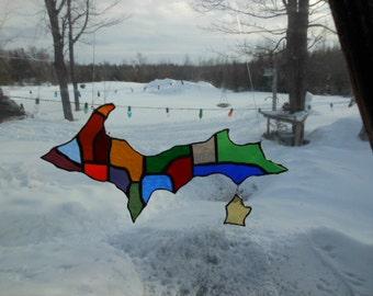 Yooper stained glass suncatcher