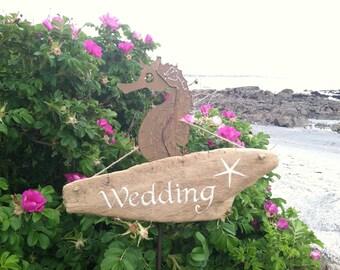 Hand Painted Reclaimed Driftwood Wedding Sign, Painted Starfish Beach Wedding, Barn Wedding Decoration